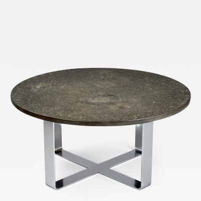 Fossil Embossed Table on Chromed Steel Base 1970s