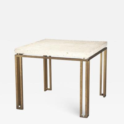 Fossilated Limestone Top and Bronze Table