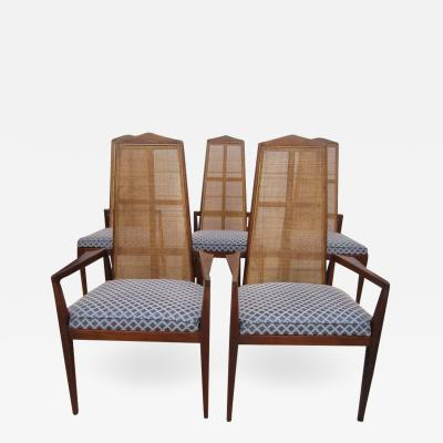 Foster McDavid 5 Walnut Foster and McDavid Cane Back Dining Chairs Mid Century Modern