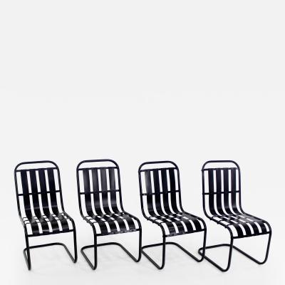 Four 1930s Streamline Moderne Indoor Outdoor Metal Chairs