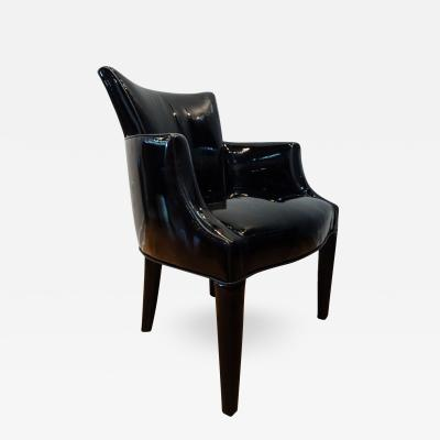 Four 1980s Italian black Patent leather chairs