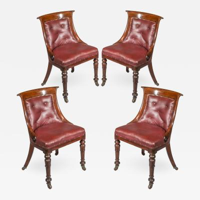 Four Antique Regency Club Chairs in Old Leather