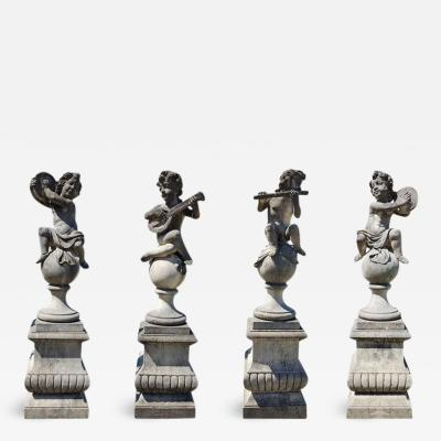 Four Charming Italian Putto Stone Figures Representing Musicians