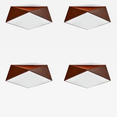 Four Enameled Metal Cubist Ceiling Lights 1960s