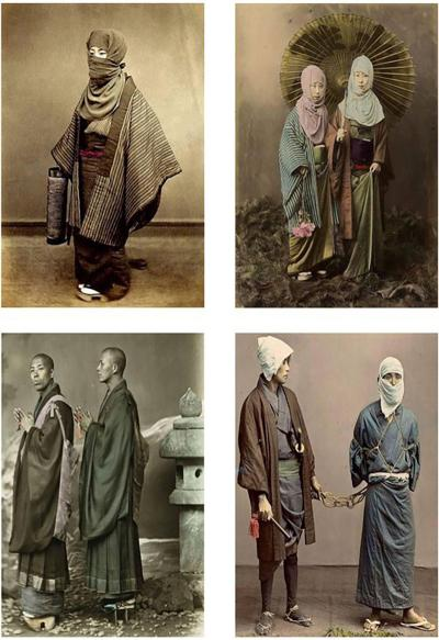 Four Felice Beato Hand Painted Japanese Photographic Studio Prints circa 1860s