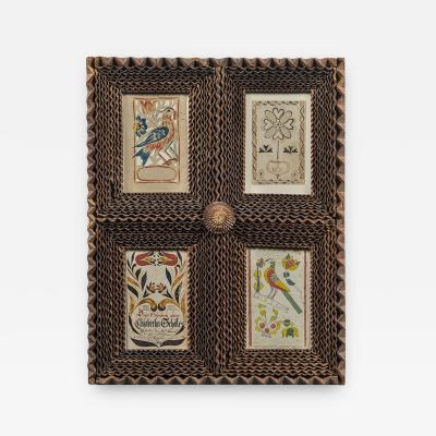Four Fraktur Bookplates in a Carved Frame Pennsylvania