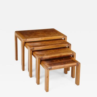 Four French 20th Century parquetry top nesting tables