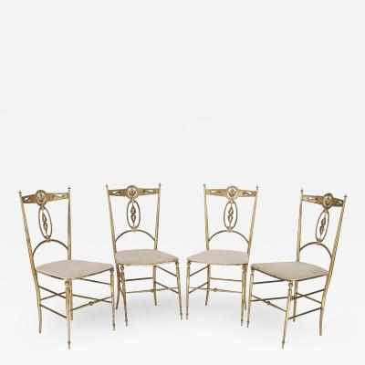 Four Italian Chiavari brass and velvet chairs