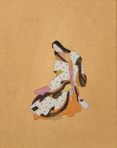 Four Japanese Themed Gouache Paintings