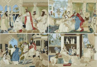 Four Jewish silk embroidered images from the Book of Esther