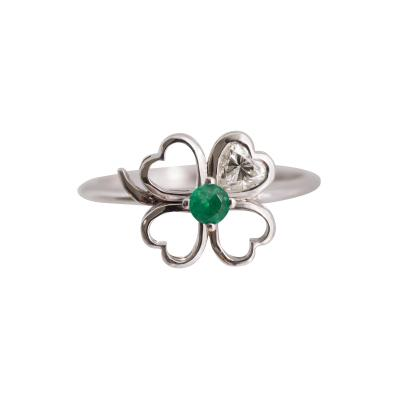 Four Leaf Clover Motif Diamond and Emerald Ring