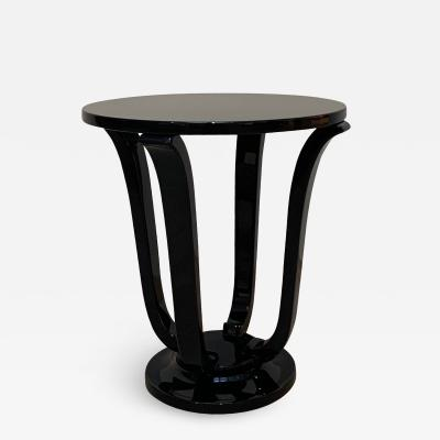 Four Legged Art Deco Style Gueridon Side Table Black Lacquer