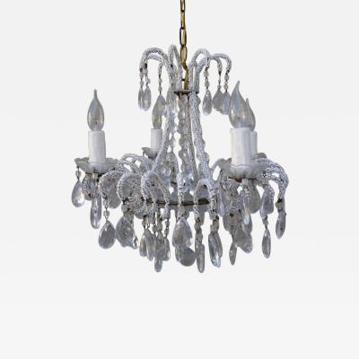Four Light Crystal Chandelier with Strung Beading