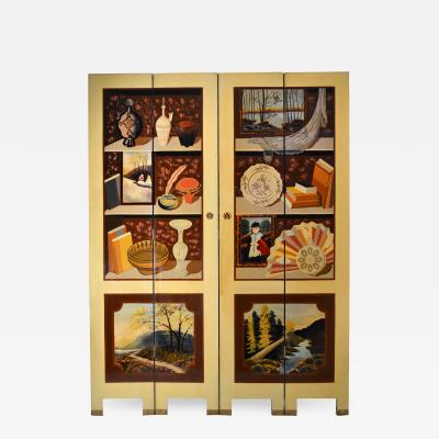Four Panel Folding Screen Custom Studio Trompe Loeil 1960s