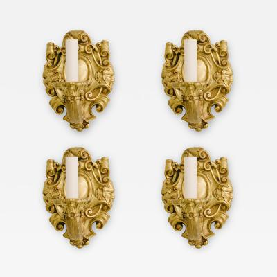 Four Turn of the Last Century French Louis XV Bronze Dore Sconces