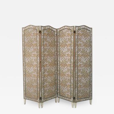 Four door screen with floral motif 1940s