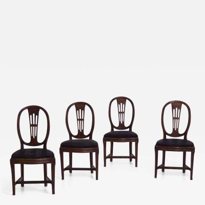 Four rare Louis Seize chairs in original patina circa 1790