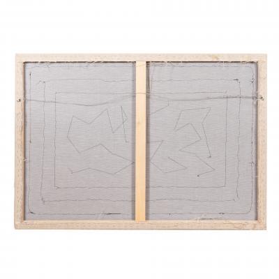 Framed American hooked wool rug