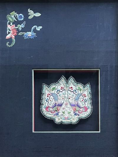 Framed Antique Embroidered Purse Qing Dynasty Provenance