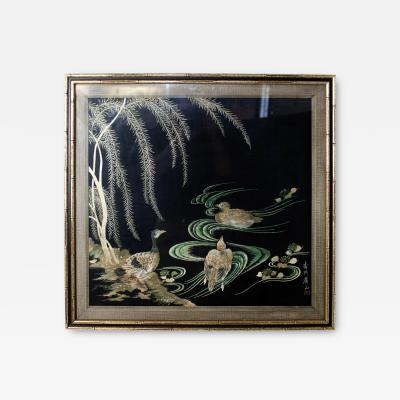Framed Antique Japanese Embroidered Silk Panel Signed