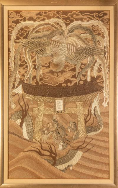 Framed Japanese Antique Phoenix and Dragon Tapestry Textile Meiji Period