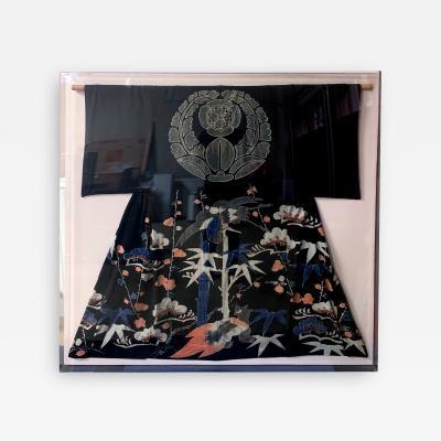Framed Japanese Ceremonial Kimono Yuzen Dye
