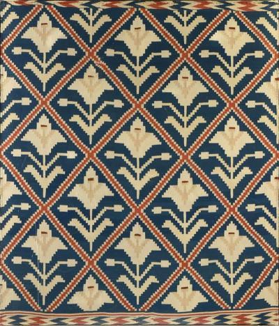 Framed Vintage Scandinavian Flat Weave Coverlet Textile Art