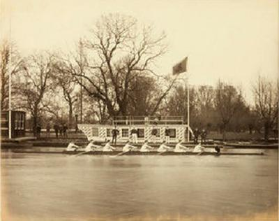 Framed albumen print of rowers