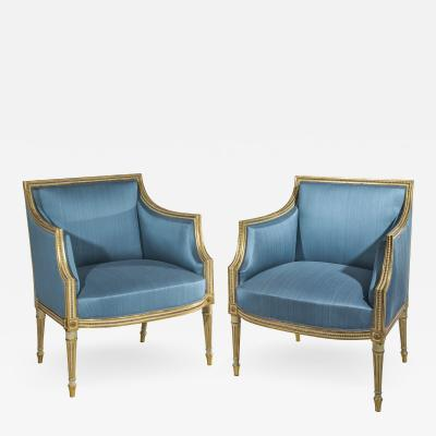 Fran ois Herv Fine Pair of George III Cream Painted and Parcel Gilt Armchairs