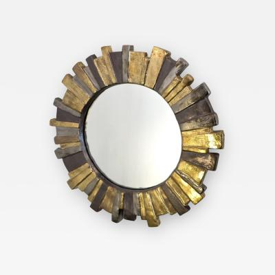 Fran ois Lembo FRANCOIS LEMBO FRENCH GLAZED GOLD SILVER GRAY CERAMIC SUNBURST MIRROR