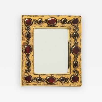 Fran ois Lembo Francois Lembo Ceramic Mirror Gold Red Jewel Signed France 1970s