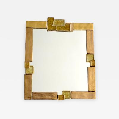 Fran ois Lembo Francois Lembo French Gilded Ceramic and Crystalline Fused Glass Mirror