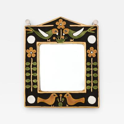 Fran ois Lembo style ceramic mirror in gold and colours