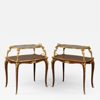 Fran ois Linke A Near Pair of Louis XV Style Parquetry tag re Tables