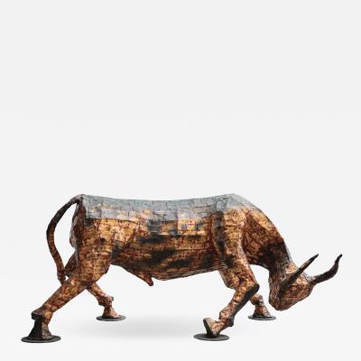 Fran ois Melin Charging bull sculpture by Fran ois Melin France 1970