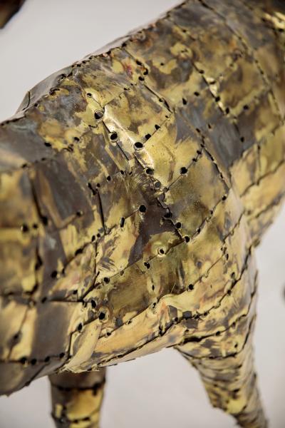 Fran ois Melin Deer sculpture in oxydised brass by Fran ois Melin 1970