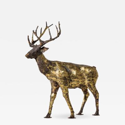 Fran ois Melin Deer sculpture in oxydised brass by Fran ois Melin 1970