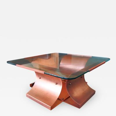 Fran ois Monnet Aged Copper and Glass Coffee Table by Francois Monnet
