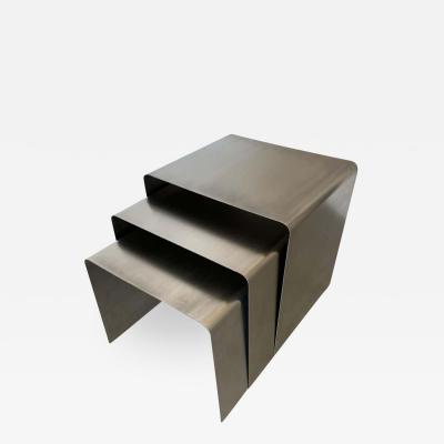 Fran ois Monnet Fran ois Monnet Waterfall Bent Steel Nesting Ocassional Side End Tables by Kappa