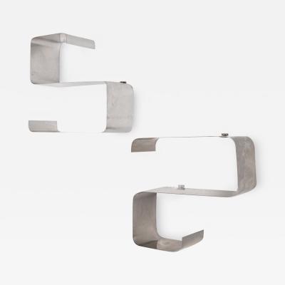 Fran ois Monnet Fran ois Monnet et Jo lle Ferlande Pair of brushed aluminum shelves 1970s