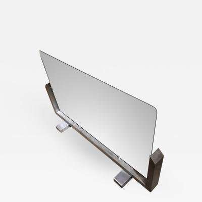 Fran ois Monnet Francois Monnet Brushed Steel and Glass 70s Fire Screen