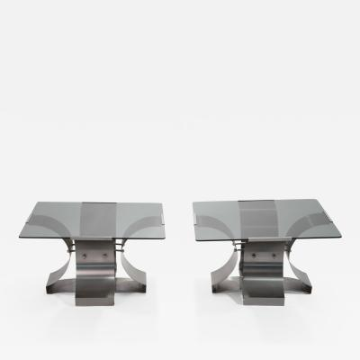 Fran ois Monnet Mid century glass and steel end Tables by Fran ois Monnet 1970s