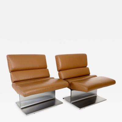Fran ois Monnet Pair of Stainless Steel French Lounge Chairs by Francois Monnet
