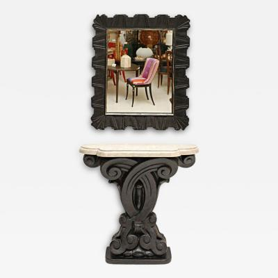 Frances Elkins Cast Plaster Console and Mirror by Frances Elkins