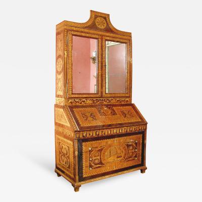 Francesco Abbiati Walnut Tulipwood Ebony Gilded Bronze and Mirror Glass Bureau Bookcase