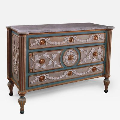 Francesco Bolgie A Painted and Parcel Gilded Wood Chest of Drawers with a White Marble Top
