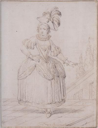 Francesco Galimberti Spanish Lady standing in Courtyard