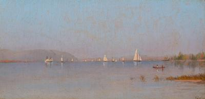 Francis Augustus Silva Boating on the Hudson River