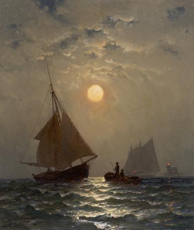 Francis Augustus Silva Moonlight Sail 1880