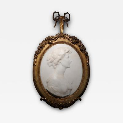 Francis Derwent Wood A Fine Marble Relief Portrait of A Lady